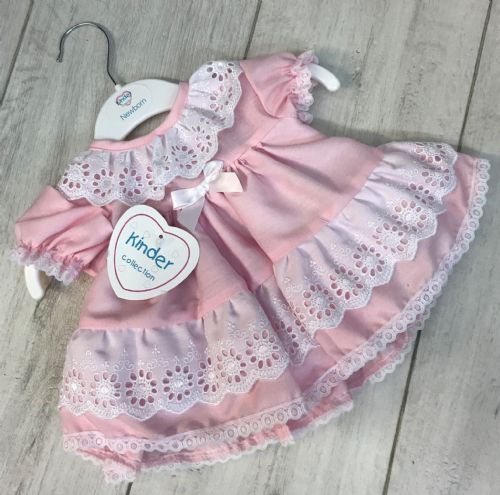 Baby Pink Flower Embroidery Frill Dress